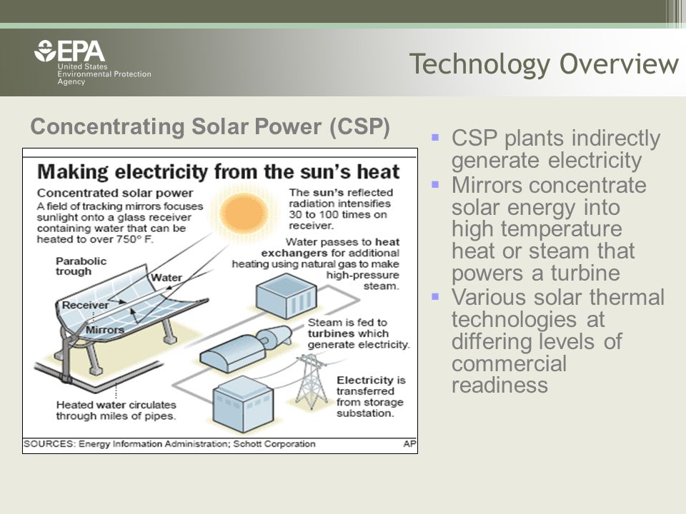  CSP plants indirectly generate electricity  Mirrors concentrate solar energy into high temperature heat or steam that powers a turbine  Various so