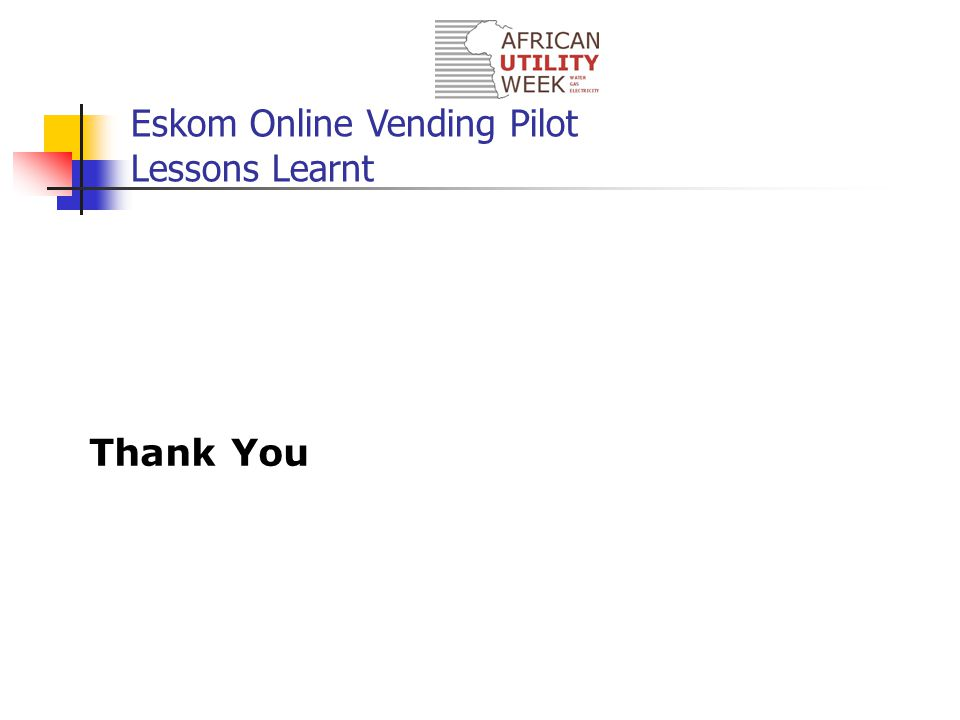 Eskom Online Vending Pilot Lessons Learnt Thank You