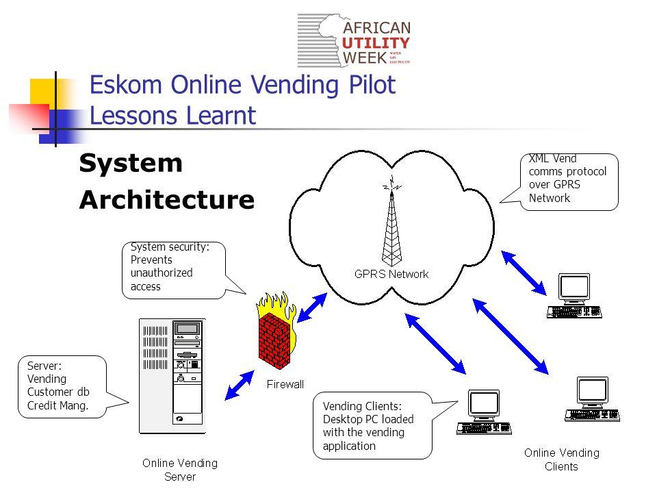 Eskom Online Vending Pilot Lessons Learnt System Architecture Server: Vending Customer db Credit Mang.