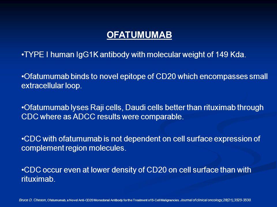 OFATUMUMAB TYPE I human IgG1K antibody with molecular weight of 149 Kda.
