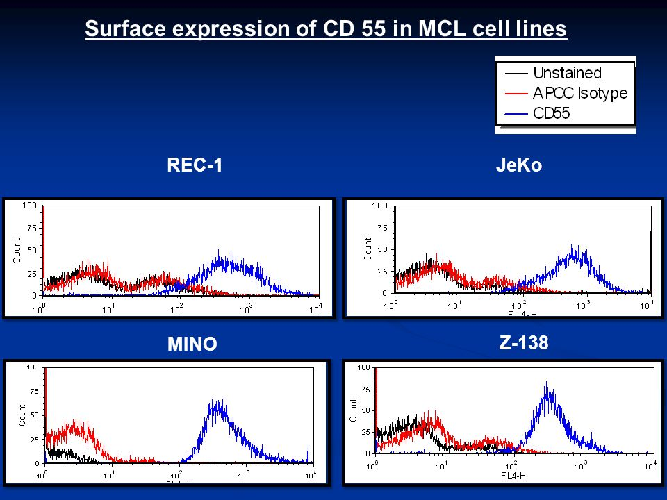 JeKoREC-1 Z-138 MINO Surface expression of CD 55 in MCL cell lines