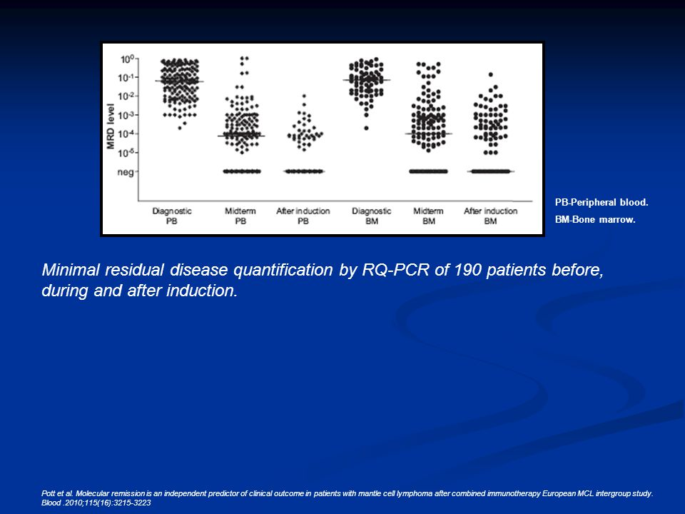 PB-Peripheral blood. BM-Bone marrow. Minimal residual disease quantification by RQ-PCR of 190 patients before, during and after induction. Pott et al.