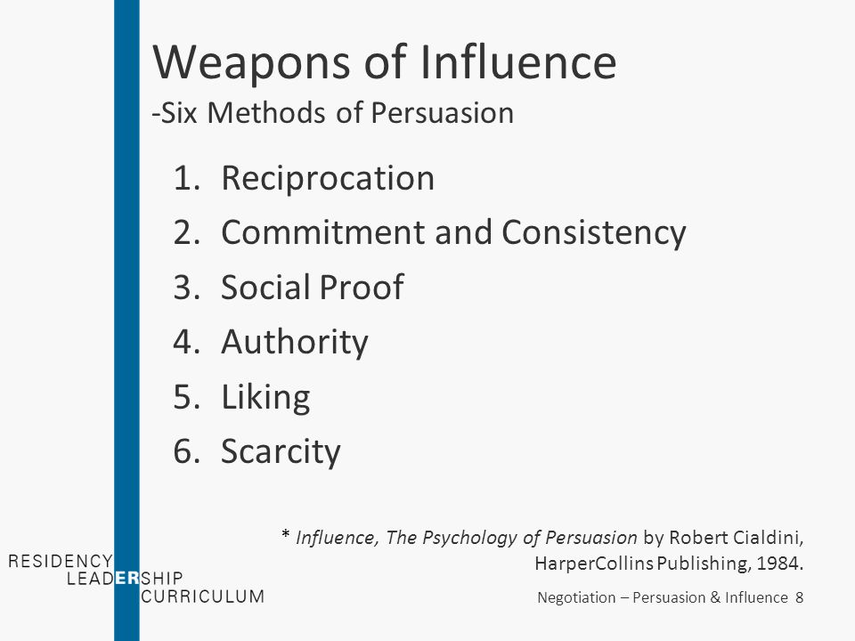 Negotiation – Persuasion & Influence 49 Guiding Principles of Persuasion - Putting it all Together Demonstrate authority –Without being boastful, state your qualifications Prior training Prior experience