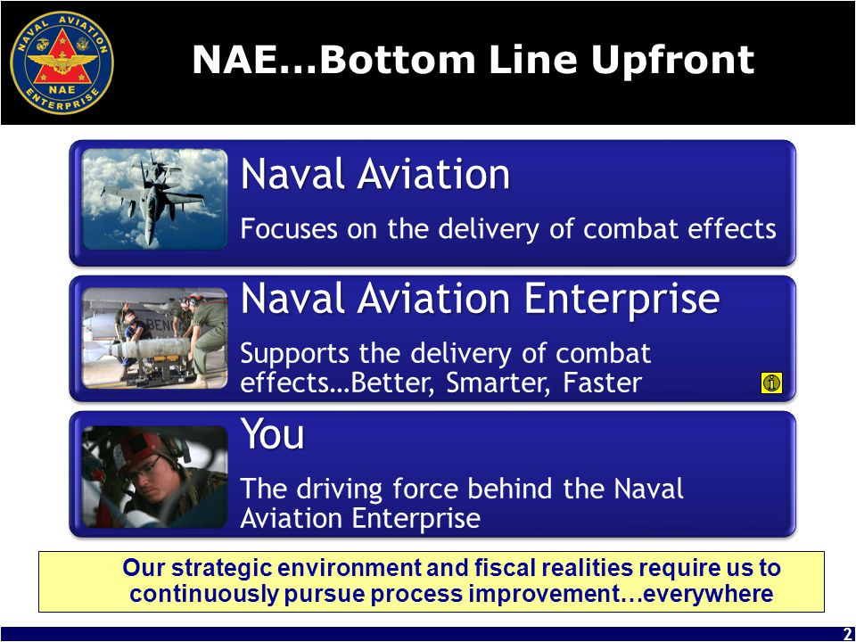 Naval Aviation Enterprise Mission Naval Aviation Leadership is committed to enterprise behavior and the work of the individuals in the Enterprise 3 MISSION: Advance and sustain Naval Aviation warfighting capabilities at an affordable cost… today and in the future.
