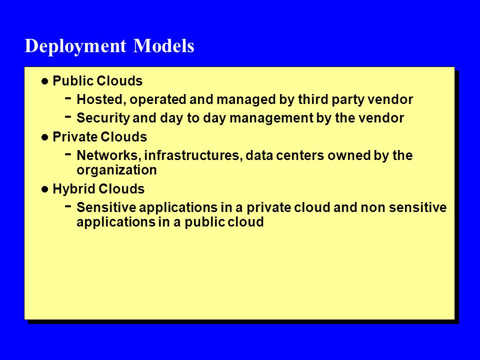 IAM Practices in the Cloud l Cloud Identity Administration - Life cycle management of user identities in the cloud l Federated Identity (SSO) - Enterprise an enterprise Identity provider within an Organization perimeter - Cloud-based Identity provider