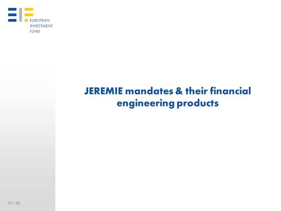 17 / 23 JEREMIE mandates & their financial engineering products