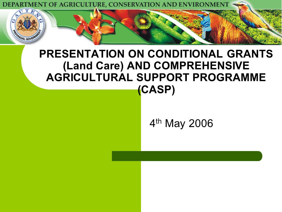 PRESENTATION ON CONDITIONAL GRANTS (Land Care) AND COMPREHENSIVE AGRICULTURAL SUPPORT PROGRAMME (CASP) 4 th May 2006