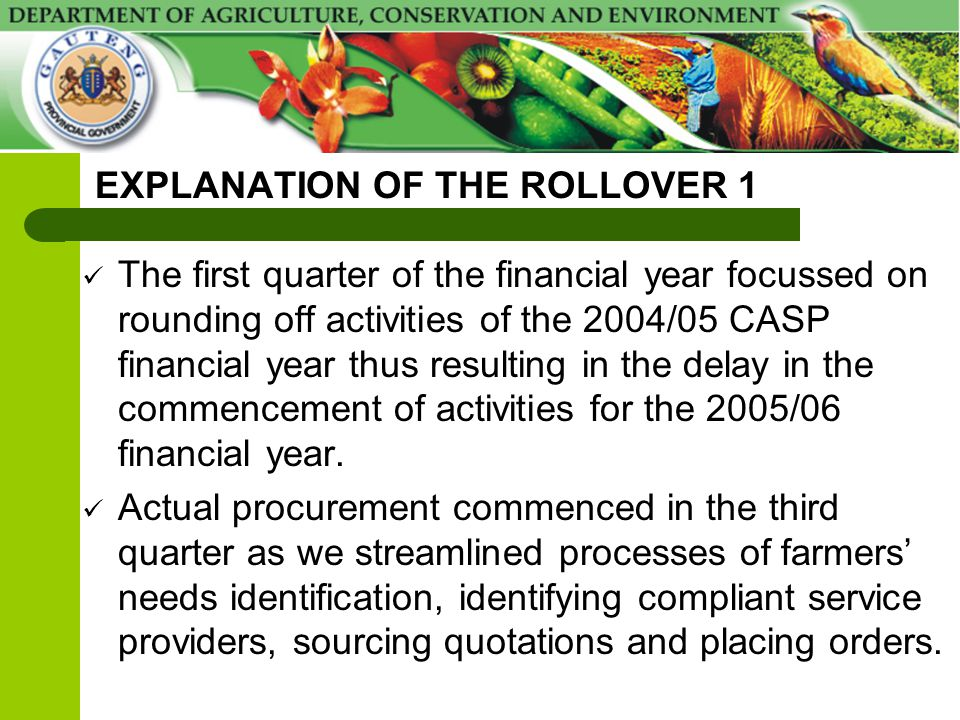 EXPLANATION OF THE ROLLOVER 1 The first quarter of the financial year focussed on rounding off activities of the 2004/05 CASP financial year thus resu