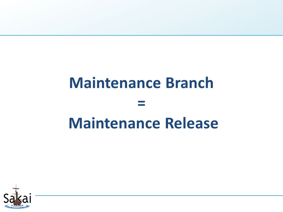 Maintenance Branch = Maintenance Release