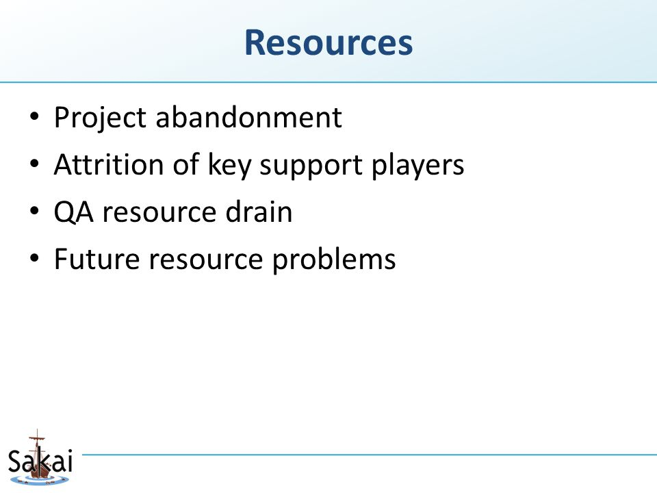 Resources Project abandonment Attrition of key support players QA resource drain Future resource problems