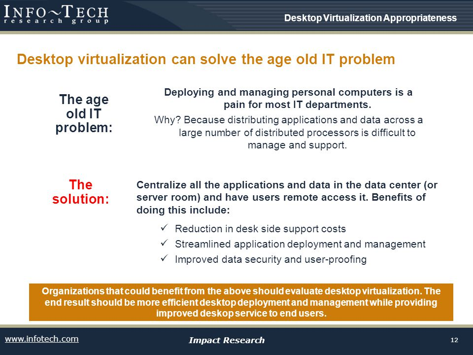 www.infotech.com Impact Research 12 Desktop virtualization can solve the age old IT problem Centralize all the applications and data in the data center (or server room) and have users remote access it.