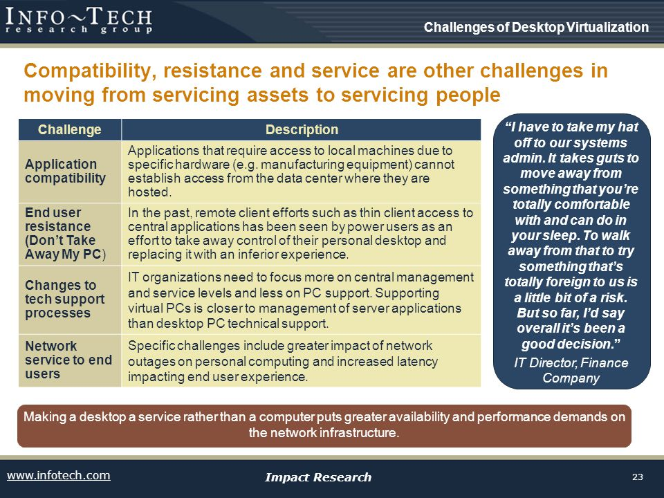 www.infotech.com Impact Research 23 Compatibility, resistance and service are other challenges in moving from servicing assets to servicing people I have to take my hat off to our systems admin.