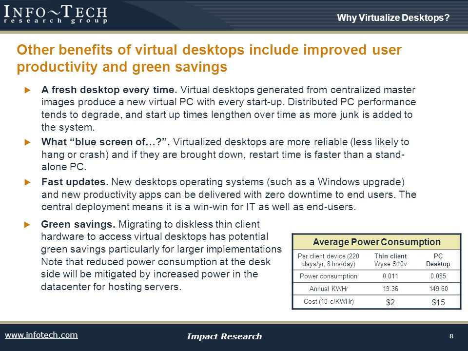 www.infotech.com Impact Research 8 Other benefits of virtual desktops include improved user productivity and green savings  A fresh desktop every time.