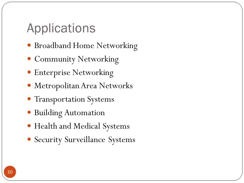 Applications 10 Broadband Home Networking Community Networking Enterprise Networking Metropolitan Area Networks Transportation Systems Building Automation Health and Medical Systems Security Surveillance Systems