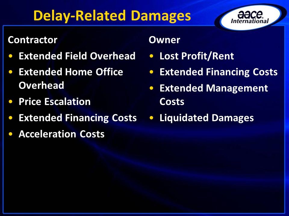 Delay-Related Damages Contractor Extended Field Overhead Extended Home Office Overhead Price Escalation Extended Financing Costs Acceleration Costs Owner Lost Profit/Rent Extended Financing Costs Extended Management Costs Liquidated Damages