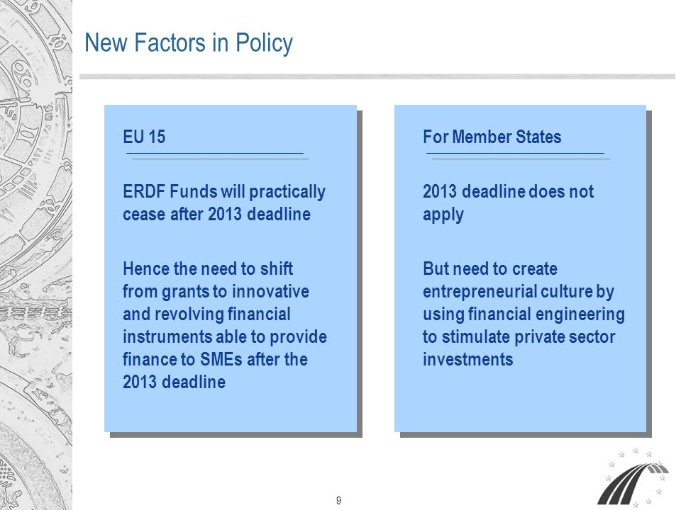 9 New Factors in Policy EU 15 ERDF Funds will practically cease after 2013 deadline Hence the need to shift from grants to innovative and revolving financial instruments able to provide finance to SMEs after the 2013 deadline For Member States 2013 deadline does not apply But need to create entrepreneurial culture by using financial engineering to stimulate private sector investments