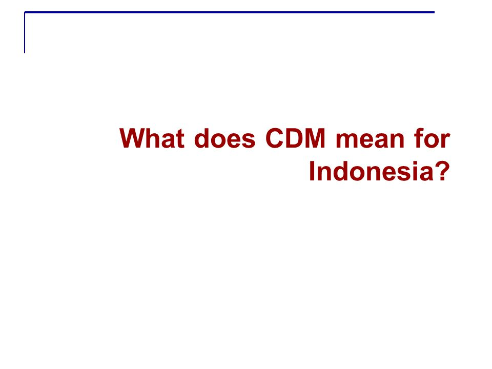 What does CDM mean for Indonesia