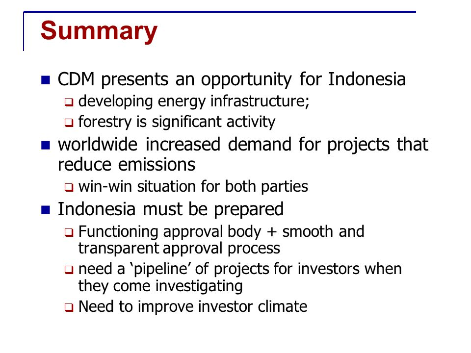 Summary CDM presents an opportunity for Indonesia  developing energy infrastructure;  forestry is significant activity worldwide increased demand for projects that reduce emissions  win-win situation for both parties Indonesia must be prepared  Functioning approval body + smooth and transparent approval process  need a 'pipeline' of projects for investors when they come investigating  Need to improve investor climate