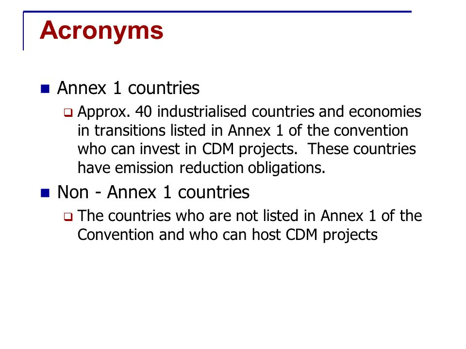 Acronyms Annex 1 countries  Approx.