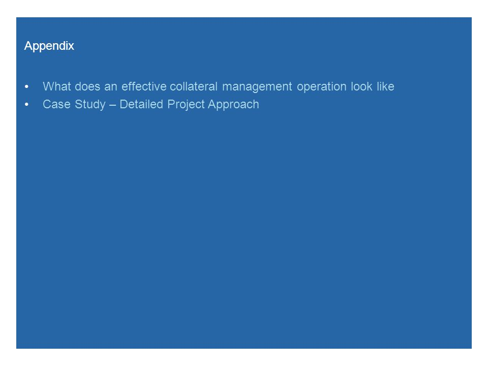 Appendix What does an effective collateral management operation look like Case Study – Detailed Project Approach