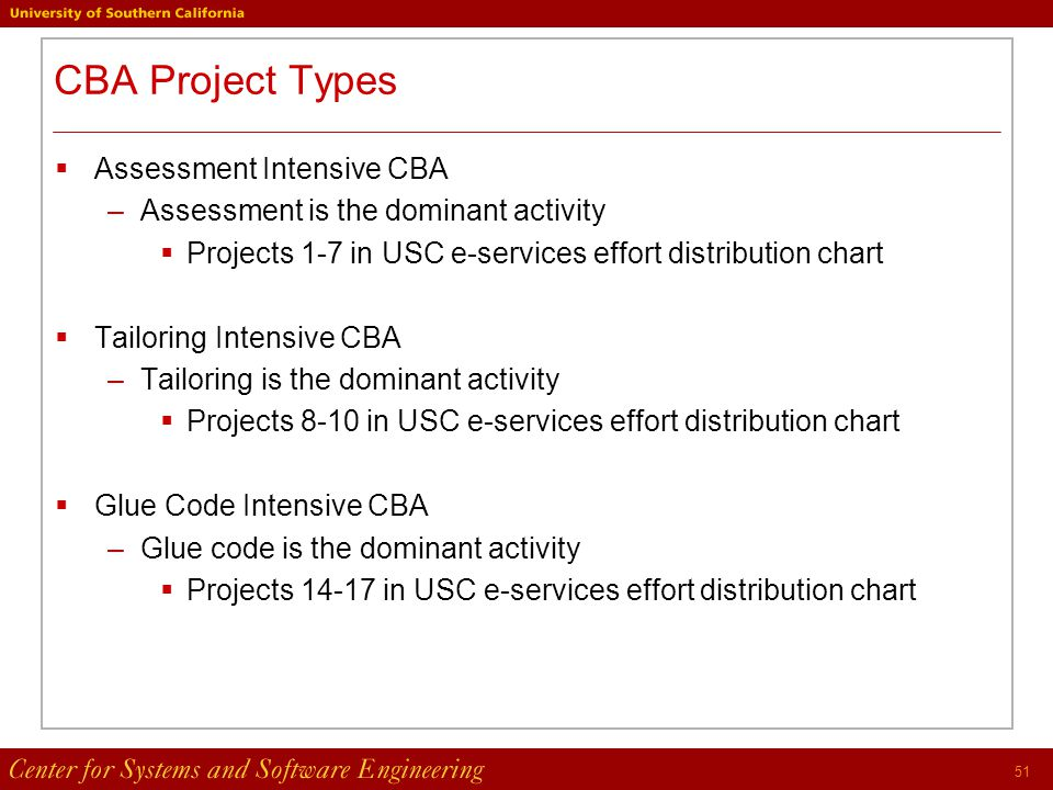 51 CBA Project Types  Assessment Intensive CBA –Assessment is the dominant activity  Projects 1-7 in USC e-services effort distribution chart  Tailoring Intensive CBA –Tailoring is the dominant activity  Projects 8-10 in USC e-services effort distribution chart  Glue Code Intensive CBA –Glue code is the dominant activity  Projects 14-17 in USC e-services effort distribution chart