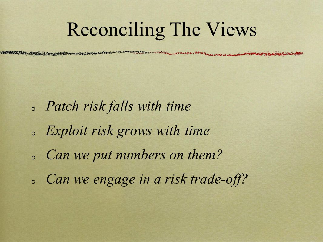 Reconciling The Views Patch risk falls with time Exploit risk grows with time Can we put numbers on them? Can we engage in a risk trade-off?