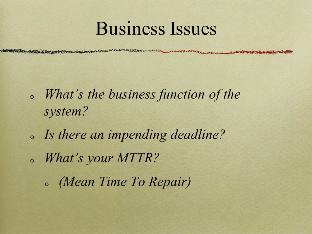 Business Issues What's the business function of the system.