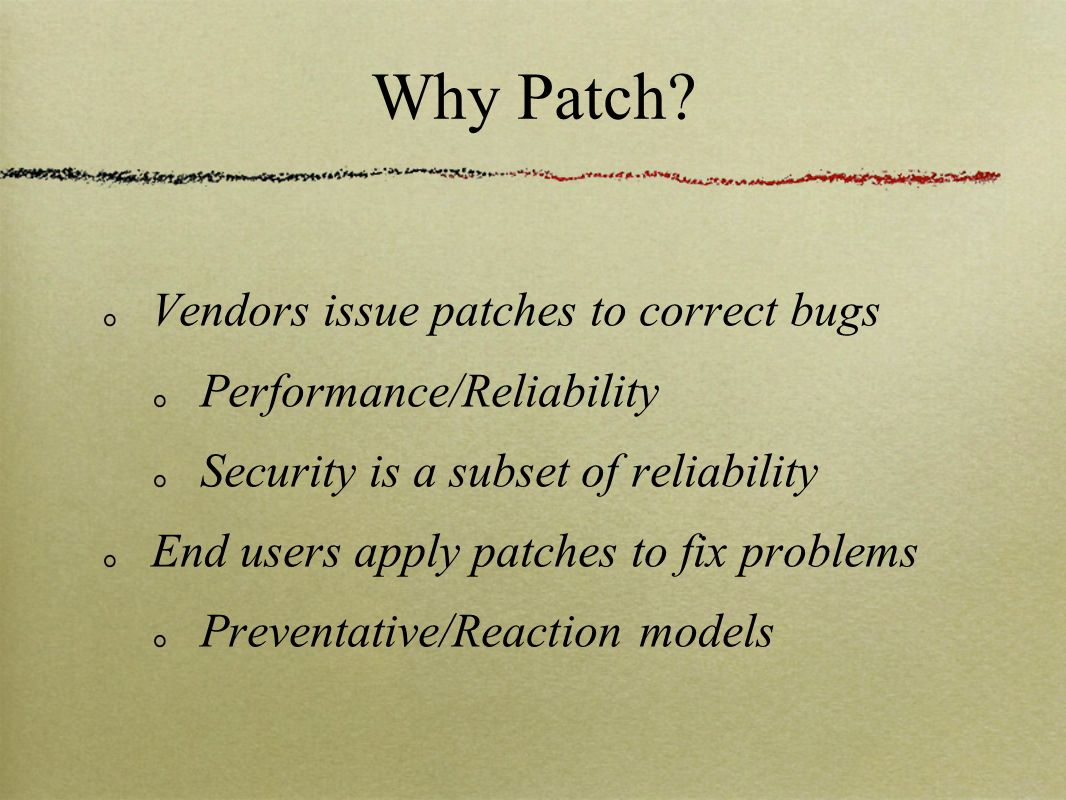 Why Patch.