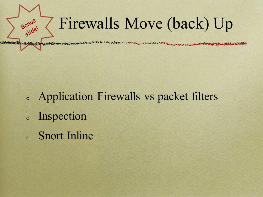 Firewalls Move (back) Up Application Firewalls vs packet filters Inspection Snort Inline