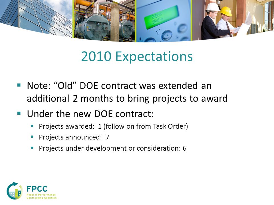 2010 Expectations  Note: Old DOE contract was extended an additional 2 months to bring projects to award  Under the new DOE contract:  Projects awarded: 1 (follow on from Task Order)  Projects announced: 7  Projects under development or consideration: 6