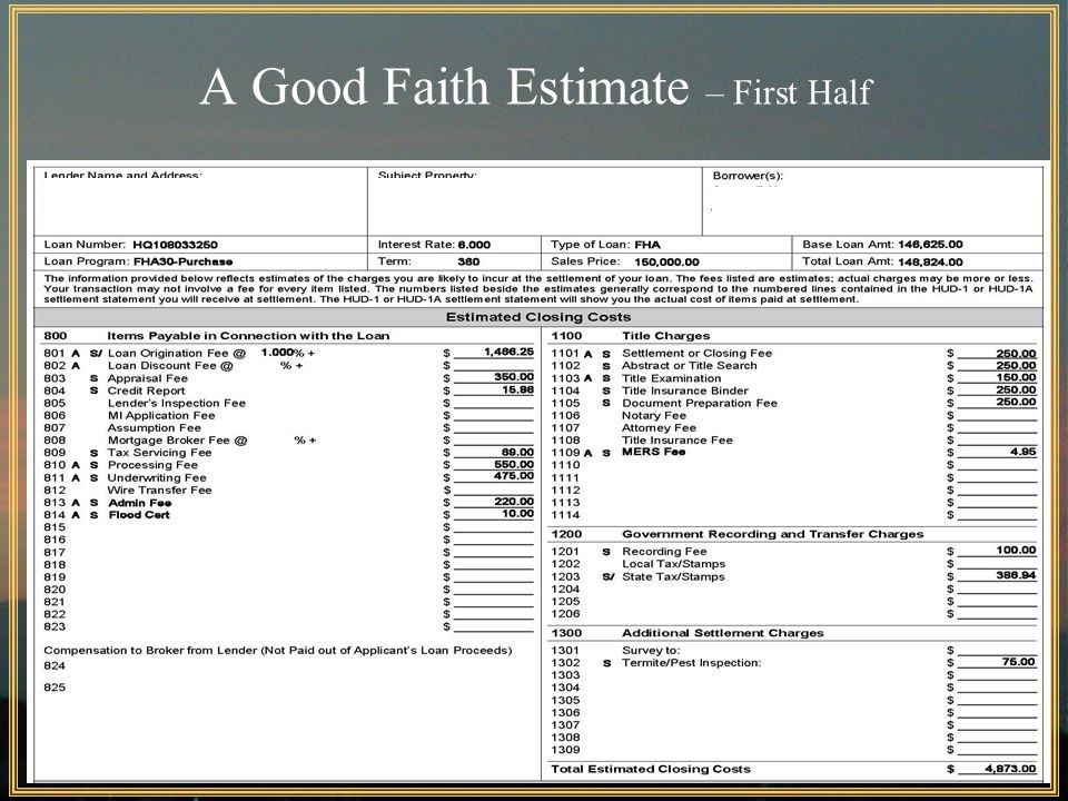 59 A Good Faith Estimate – First Half