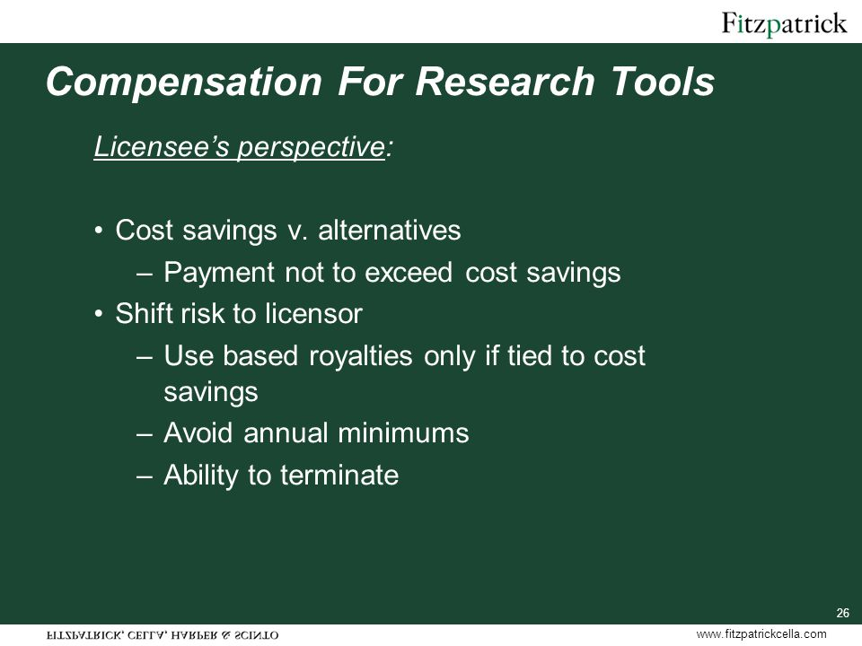 www.fitzpatrickcella.com Compensation For Research Tools Licensee's perspective: Cost savings v.
