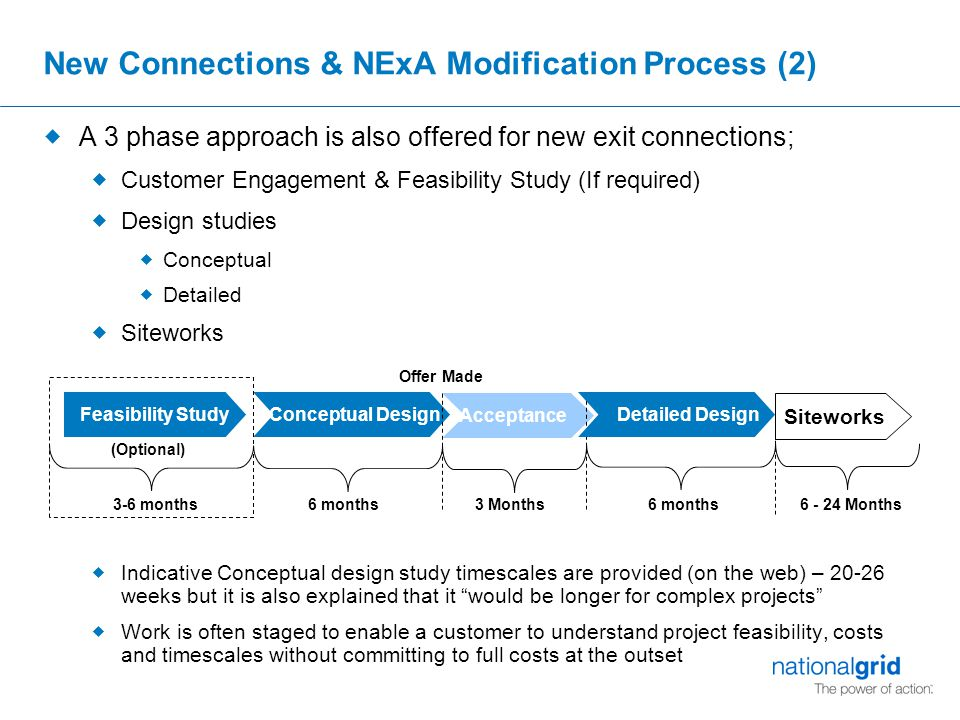 Acceptance Feasibility Study New Connections & NExA Modification Process (2)  A 3 phase approach is also offered for new exit connections;  Customer Engagement & Feasibility Study (If required)  Design studies  Conceptual  Detailed  Siteworks  Indicative Conceptual design study timescales are provided (on the web) – 20-26 weeks but it is also explained that it would be longer for complex projects  Work is often staged to enable a customer to understand project feasibility, costs and timescales without committing to full costs at the outset Offer Made Conceptual Design (Optional) 6 months 3 Months3-6 months Siteworks 6 - 24 Months Detailed Design 6 months