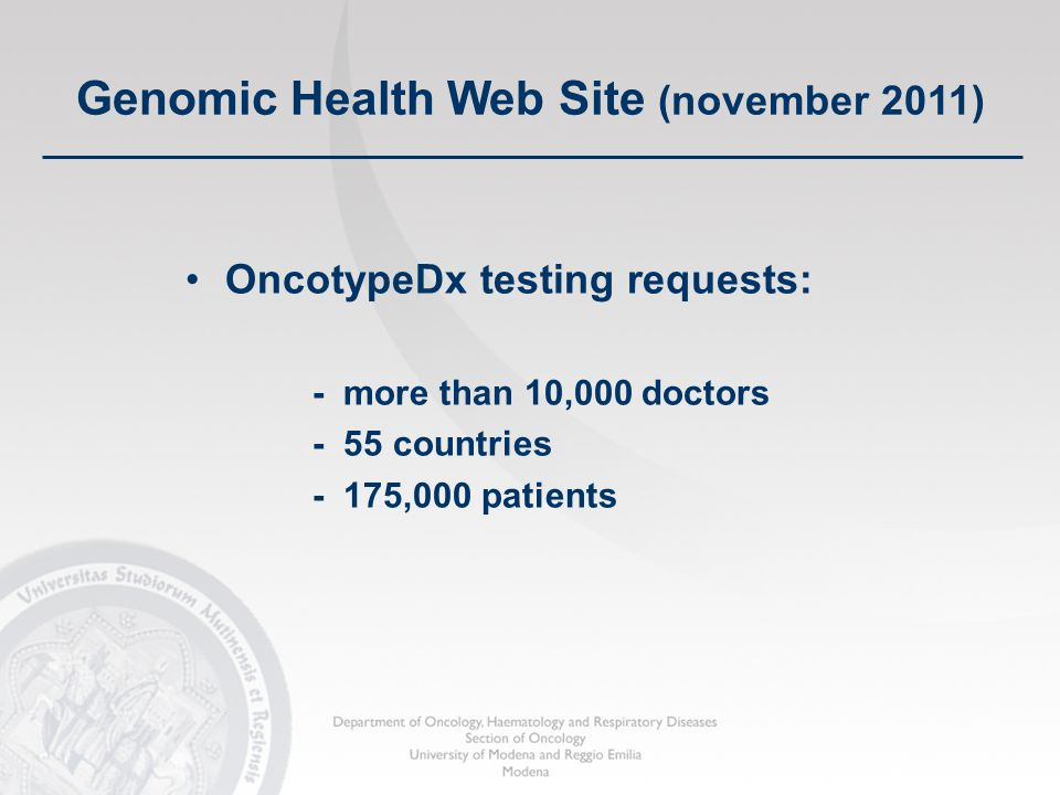 OncotypeDx testing requests: - more than 10,000 doctors - 55 countries - 175,000 patients Genomic Health Web Site (november 2011)