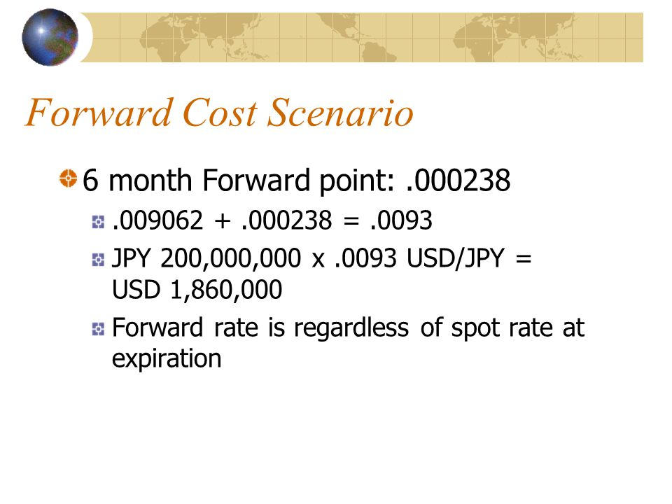 Forward Cost Scenario 6 month Forward point:.000238.009062 +.000238 =.0093 JPY 200,000,000 x.0093 USD/JPY = USD 1,860,000 Forward rate is regardless o