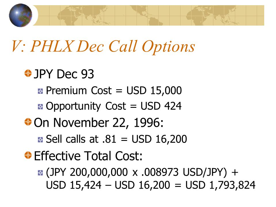 V: PHLX Dec Call Options JPY Dec 93 Premium Cost = USD 15,000 Opportunity Cost = USD 424 On November 22, 1996: Sell calls at.81 = USD 16,200 Effective