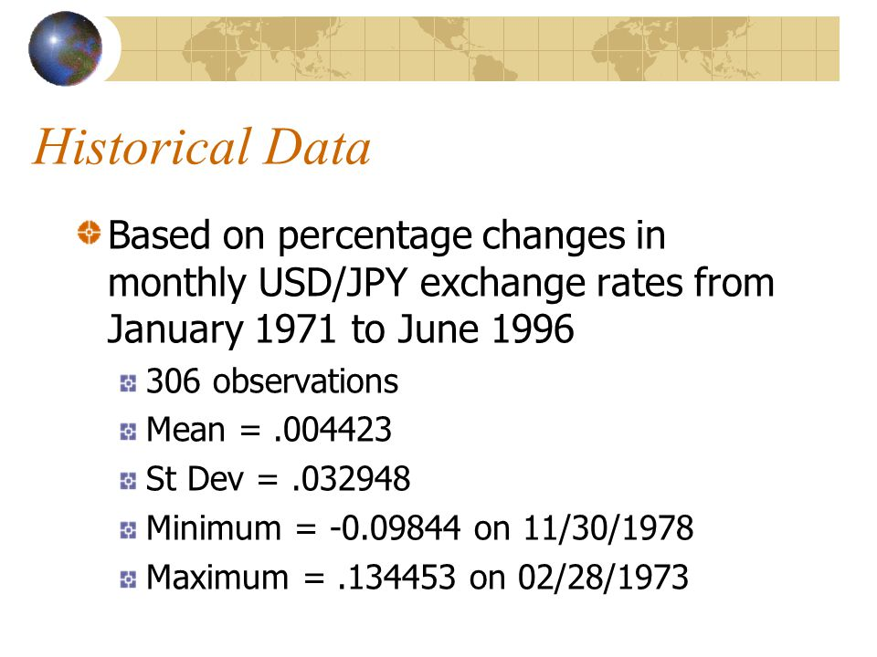 Historical Data Based on percentage changes in monthly USD/JPY exchange rates from January 1971 to June 1996 306 observations Mean =.004423 St Dev =.032948 Minimum = -0.09844 on 11/30/1978 Maximum =.134453 on 02/28/1973