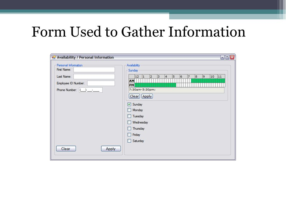Form Used to Gather Information