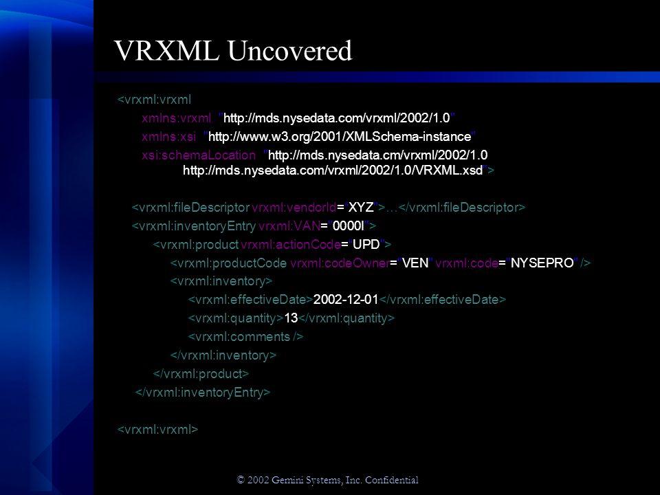 © 2002 Gemini Systems, Inc. Confidential VRXML Uncovered <vrxml:vrxml xmlns:vrxml=