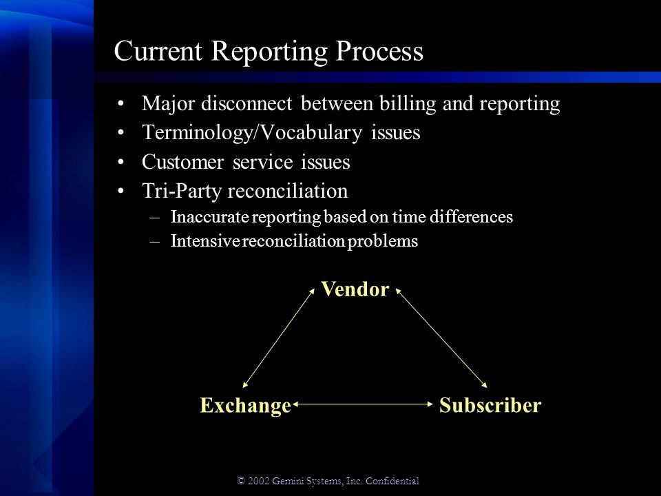 © 2002 Gemini Systems, Inc. Confidential Current Reporting Process Major disconnect between billing and reporting Terminology/Vocabulary issues Custom
