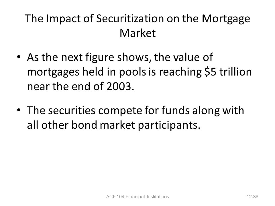 The Impact of Securitization on the Mortgage Market As the next figure shows, the value of mortgages held in pools is reaching $5 trillion near the end of 2003.