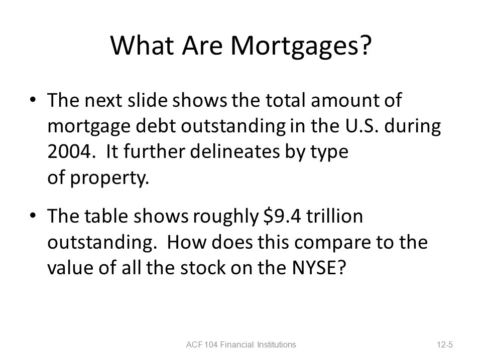 What Are Mortgages. The next slide shows the total amount of mortgage debt outstanding in the U.S.
