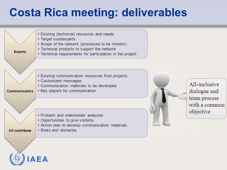 IAEA Costa Rica meeting: deliverables Experts Existing (technical) resources and needs Target counterparts Scope of the network (processes to be monitor) Technical products to support the network Technical requirements for participation in the project Communicators Existing communication resources from projects Customized messages Communication materials to be developed Key players for communication All contribute Problem and stakeholder analyses Opportunities to give visibility Action plan to develop communication materials Risks and obstacles All-inclusive dialogue and team process with a common objective