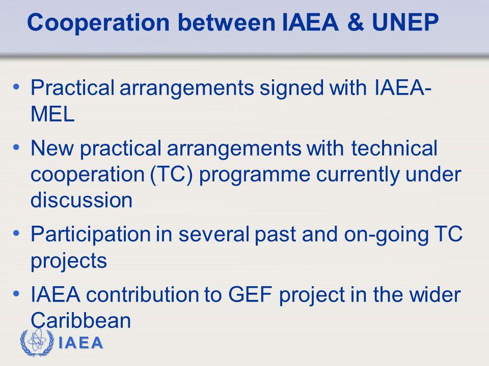 IAEA Cooperation between IAEA & UNEP Practical arrangements signed with IAEA- MEL New practical arrangements with technical cooperation (TC) programme