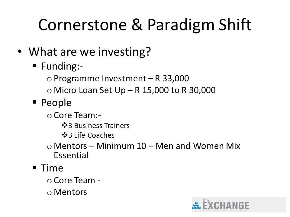 Cornerstone & Paradigm Shift What are we investing.