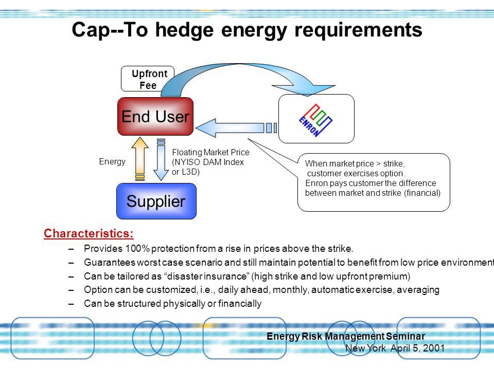 Energy Risk Management Seminar New York April 5, 2001 Upfront Fee When market price > strike, customer exercises option.