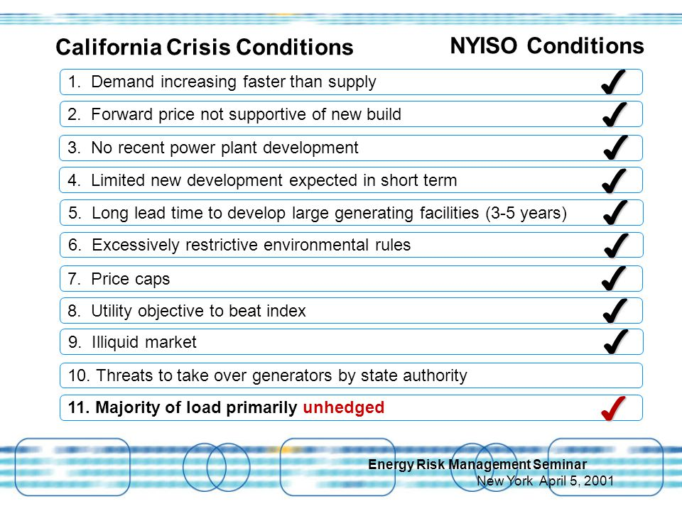 Energy Risk Management Seminar New York April 5, 2001 California Crisis Conditions NYISO Conditions 1.