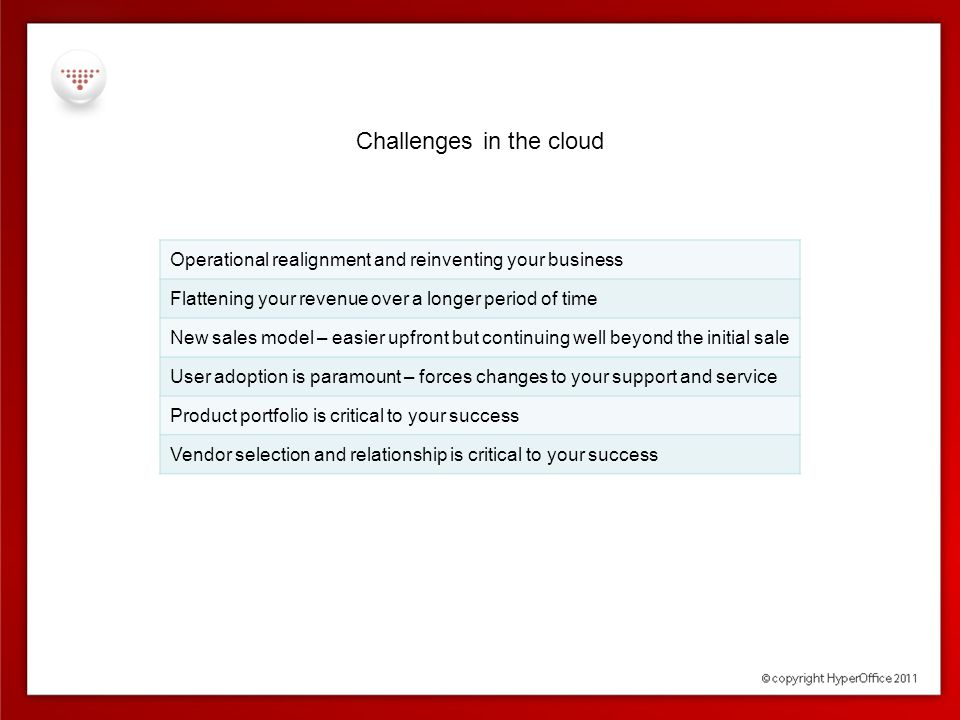 Challenges in the cloud  Product selection and portfolio  Scope and size  Ease of use  Future proof – scale, upsell and mobility  Customization & service opportunities  Stickiness – operational touch points  Built from scratch for cloud – multi-tenant, cross browser support  Vendor Selection  Cloud commitment  Delivery track record  Channel commitment - billing control, branding options and service oppties  Avoid following the herd  Avoid market places