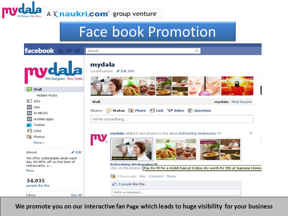 Face book Promotion We promote you on our interactive fan Page which leads to huge visibility for your business