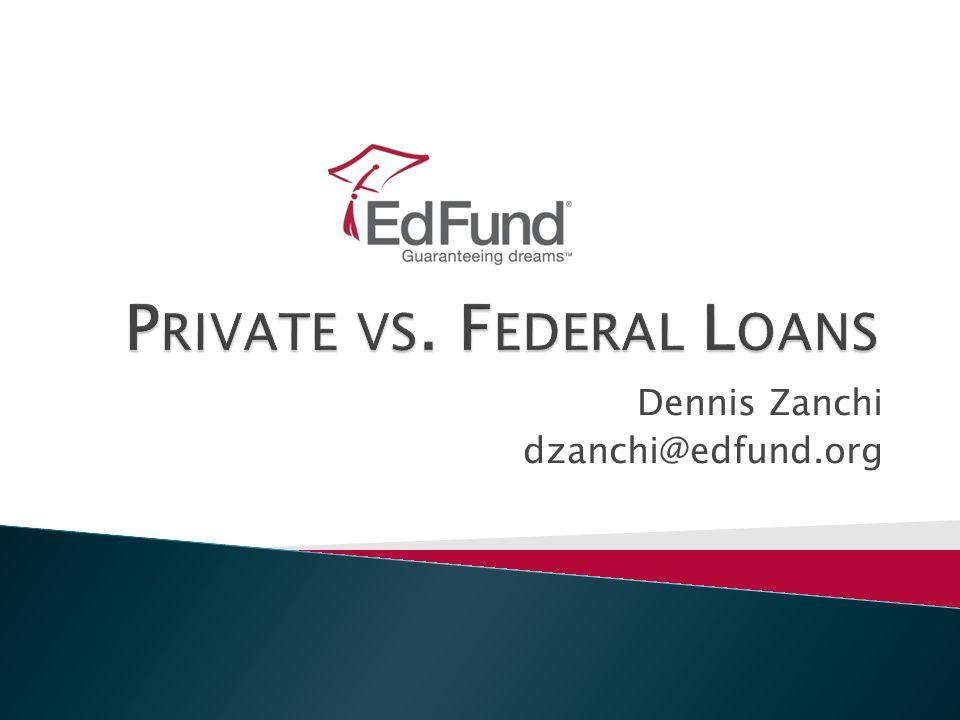 2 Agenda  Private loans ◦ Defined ◦ Interest rates ◦ Indexes ◦ Finding the best deal  Federal loans ◦ Defined ◦ Industry players  All loans ◦ Rights comparison ◦ Term definitions ◦ Loan repayment chart  Loan comparisons